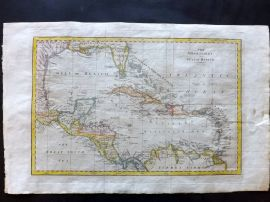 Field of Mars 1801 Hand Col Map. West Indies and Gulf of Mexico